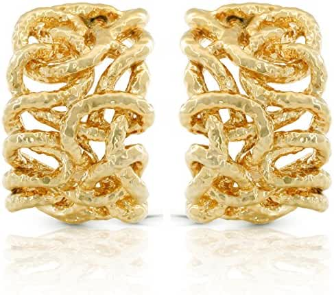 JanKuo Jewelry Gold Plated Hammered Style Intertwined Clip On Earrings