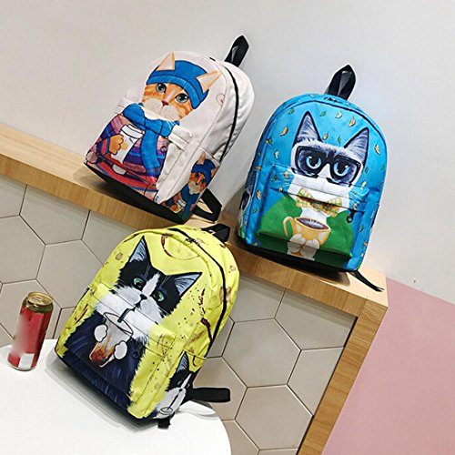 Bag Funny Cute Shoulder Zipper Bag Shoulder School Cat Print Girls Casual Canvas Backpack School Backpack Animal Women Blue Rucksack Backpacks Cats Women Girl qCx1YCFw