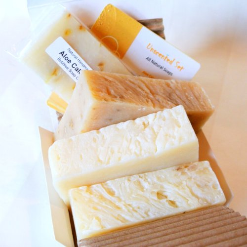 All Natural Handmade Soap Gift Set – Super Shea Butter, Aloe Calendula, Unscented Oatmeal w/ Goat Milk – Made in USA – Great for ECZEMA, PSORIASIS, RASH, DRY SKIN, SENSITIVE SKIN, BABY