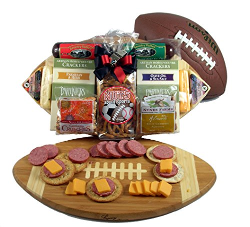(Halftime Favorites, Football Themed Meat And Cheese Gift with Deluxe Eco-Friendly Bamboo Football Cutting Board For Men)