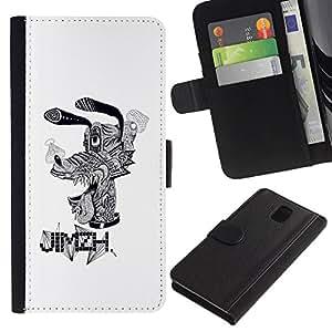ARTCO Cases - Samsung Galaxy Note 3 III N9000 N9002 N9005 - Psychedelic Classic Cartoon Dog Goof - Cuero PU Delgado caso Billetera cubierta Shell Armor Funda Case Cover Wallet Credit Card
