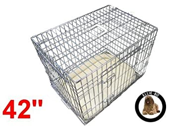 Ellie-Bo Deluxe Extra Fuerte 2/Puerta Plegable Perro Perrito de la Jaula con Cama de Matrimonio Oveja sint/ética Grande
