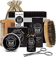 Beard Kit, Beard Growth Kit for Men Gifts, Natural Organic Beard Oil, Beard Balm, Beard Comb, Beard Brush, Beard...