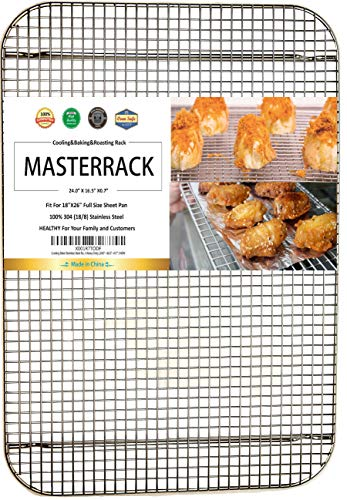 (MASTERRACK 100% 304 Stainless Steel Cooling Rack and Wire Grate For Full Size Sheet Bun Pan,Real Heavy Duty 3.20LB for Cooking, Roasting,Drying,Commercial Quality, Healthy Material Compliance with FDA)