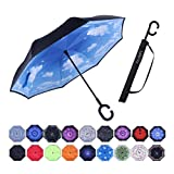 Umbrella,Windproof Waterproof Golf Umbrella,Double Layer Folding Inverted Anti-UV Protection Umbrellas,Reverse Sun Umbrella With C-Shaped Handle,Upside Down Umbrella for Car Rain Outdoor (high clouds)