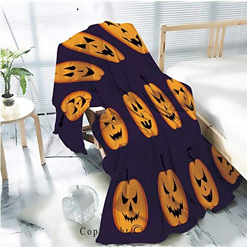 Printed Throw Blanket Smooth and Soft Blanket,Collection of Halloween Pumpkins Faces Icons Set Vector Illustration for Sofa Chair Bed Office Travelling Camping,Kid Baby,W31.5 x -