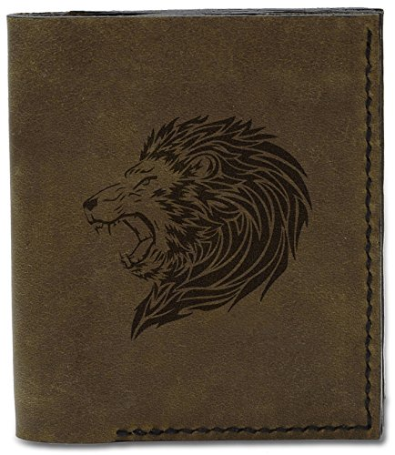 04 Genuine Leather Lion Tatoo Style Natural Style Men's Tatoo d 18 MHLT Handmade Wallet Lion wzdXYxXqg