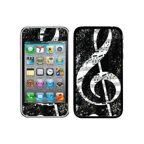 Graphics and More Protective Skin Sticker Case for iPhone 3G 3GS - Non-Retail Packaging - Vintage Treble Clef Music Black - Iphone 3 Gs Skin Case