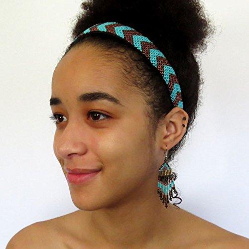 African Zulu beaded wide Alice band - Bronze/turquoise