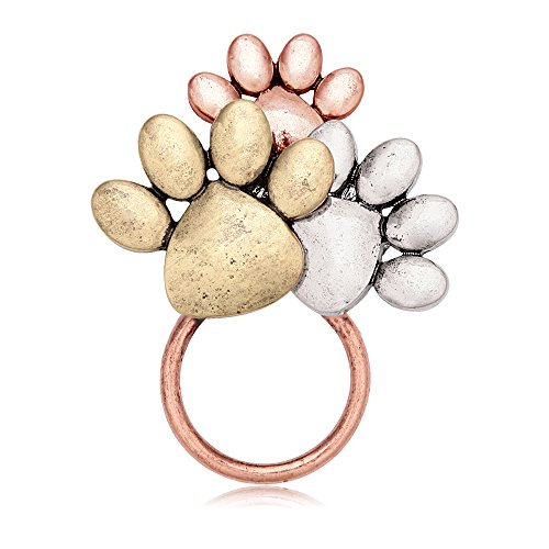 (MANZHEN Tri-Colors Dog Paw Print Magnetic Badge Eyeglass Holder Brooch for Shirts (Antique Red)