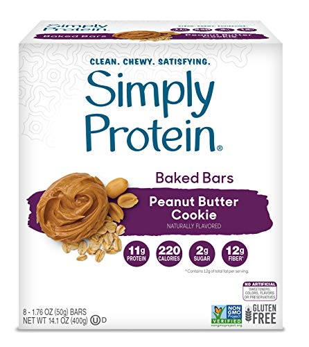 SimplyProtein Baked Bar Singles. Clean and Gluten Free Baked Bars with Plant Based Protein. (8 Pack, Peanut Butter Cookie)