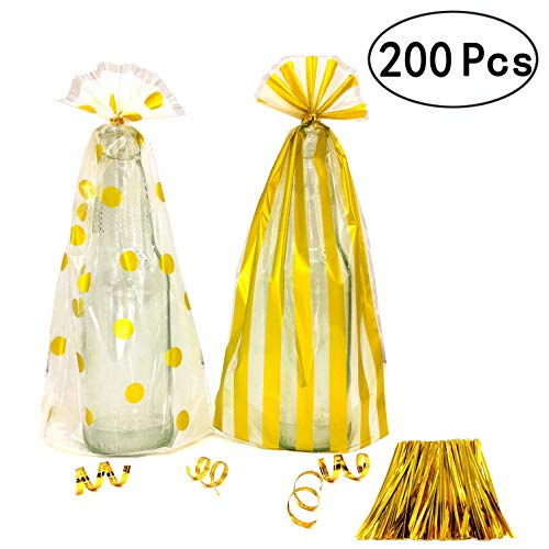 Clear Cello Wedding Party Favors Treat Bags Gold Plastic Cellophane Bags Bridal Shower Christmas Party Favors Bags Cookie Candy Treat Bags Snack Goody Gift Wrapping Bags, 200pc