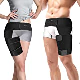 Runflory Thigh Support Brace, Adjustable Non-Slip Groin Thigh Slimmer Compression Thigh Sleeve Wrap Brace for Sore Hamstring, Quad Support Or Injury Recovery, Running & Sports - One Size (Red)