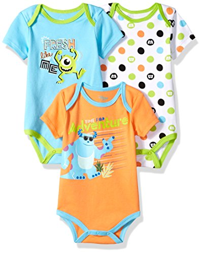 Disney Baby Boys' Monsters Inc 3 Pack Bodysuits, Multi/Orange, 18M (Monsters Inc Crib Set Babies R Us)