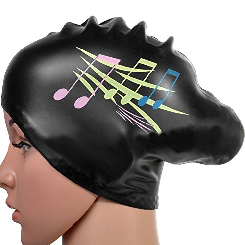 Silicone Swimming Cap Hair Protector Ear Wrap Waterproof Hat Black - 6