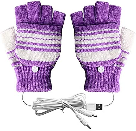 USB Heated Gloves for Men and Women Mitten AIKIN USB 2.0 Powered Stripes Heating Pattern Knitting Wool Heated Gloves Hands Warmer LaptopComputer Gloves Fingerless Washable Design (Purple) / USB Heated Gloves for Men and Women Mitte...