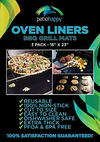 Patio Happy (3 Pack) Large Non-Stick Teflon Oven Liners 16