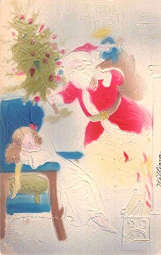 (Merry Christmas Santa Claus Fantasy Sleeping Child Air Brushed Postcard)