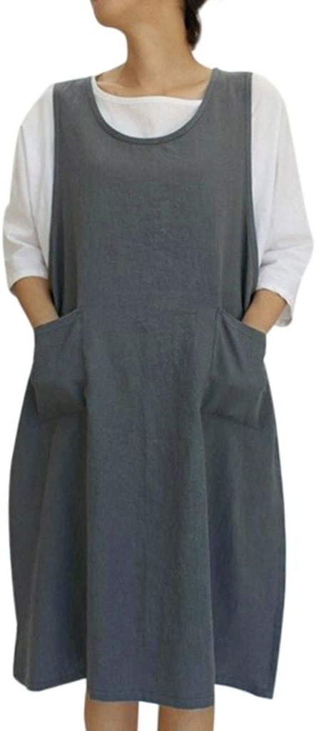Cottagecore Clothing, Soft Aesthetic Womens Casual Loose Cotton Linen Tunic Dress Vintage Apron Overall Pinafore Midi Dress With Pockets S-2XL  AT vintagedancer.com