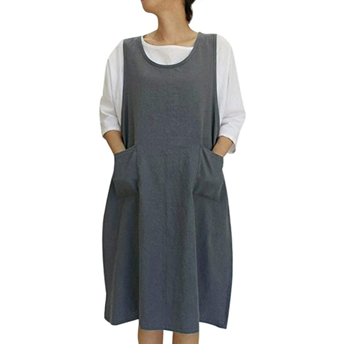 823417f2da2 Women's Casual Cotton Linen Tunic Solid Pockets Aprons, Smony Japanese Style  Pinafore Dress for Cooking