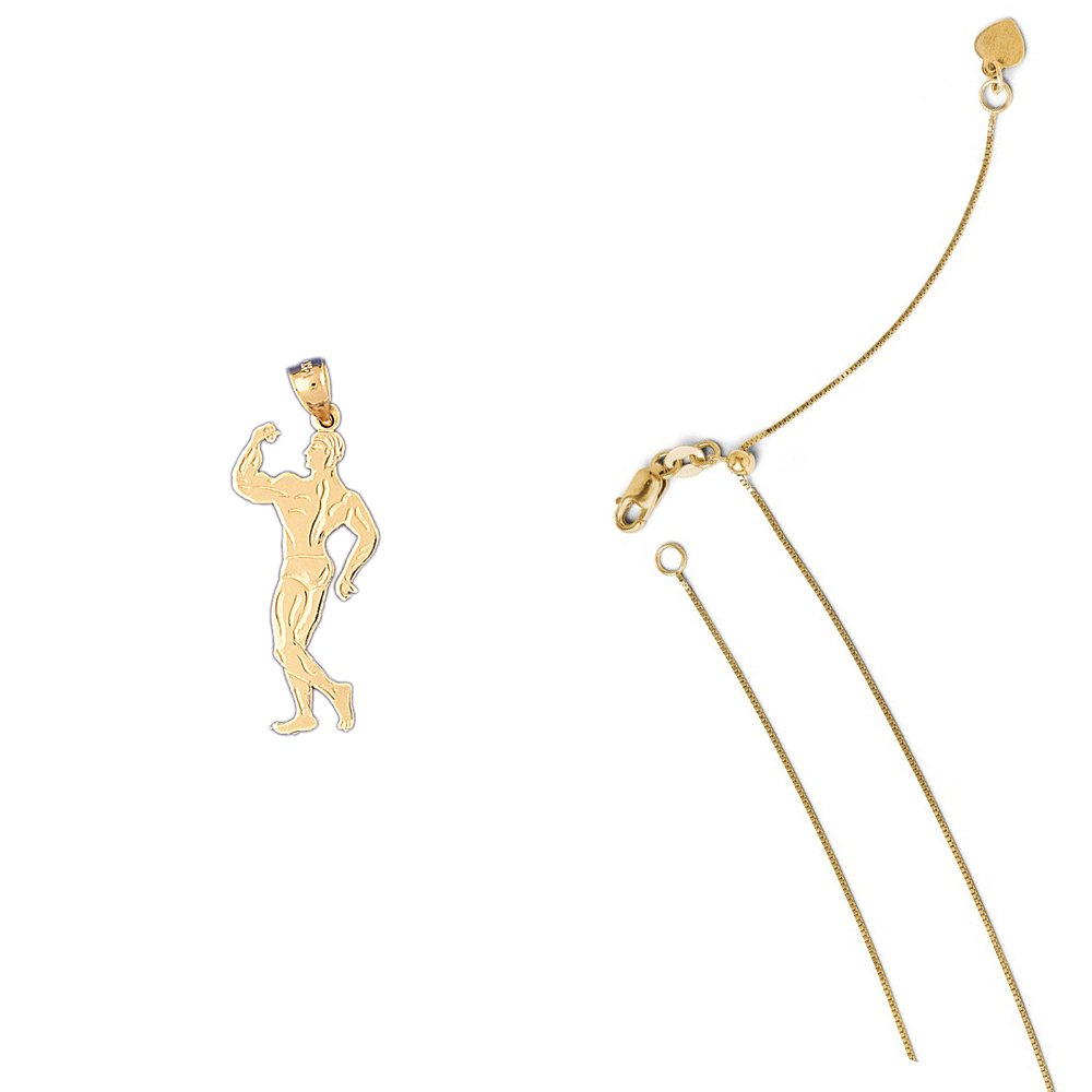 14K Yellow Gold Body Builder Pendant on an Adjustable 14K Yellow Gold Chain Necklace
