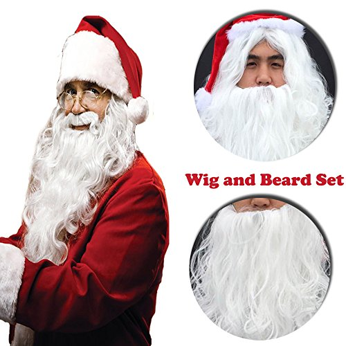 Christmas Santa Claus Wig and Beard Set for Adult Fun Full Long Curly White Synthetic Hair for Costume (Santa Claus Hair And Beard)