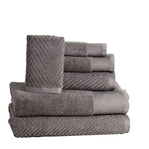 - ISABELLA CROMWELL 6 Piece Premium Cotton Bath Towels Set - 2 Bath Towels, 2 Hand Towels, 2 Washcloths Machine Washable Super Absorbent Hotel Spa Quality Luxury Towel Gift Sets Chevron Towel Set- Grey