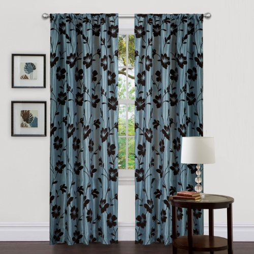 Triangle Home Fashions 18795 Lush Decor 84-Inch Garden Blossom Curtain, Blue/Brown, Panels - 84' Rod Pocket Draperies