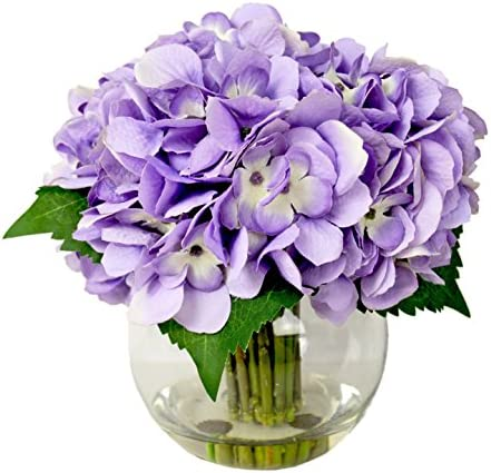 Creative Displays Lavender Hydrangea Cluster in Bubble Glass Vase with Acrylic Water