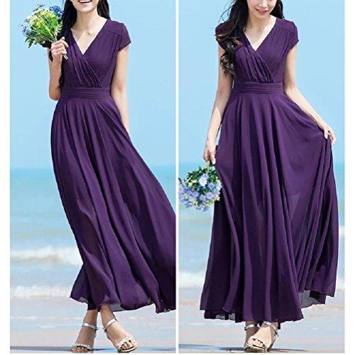 Viola Abiti Donna Zolimx Serata vestiti purple Vestito Forti Eleganti Elegante Lungo Lungo Chiffon Solido Cerimonia Estivi Taglie Abito Da qdZrZTw