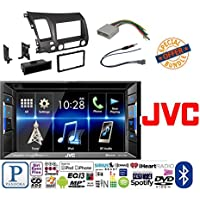 JVC KW-V130BT Double DIN BluetoothA In-Dash DVD/CD/AM/FM Car Stereo w/ 6.2 Clear Resistive Touchscreen W/ Honda Civic 2006 - 2011 Car Radio Stereo CD Player Dash Install Mounting Trim Bezel Panel Kit