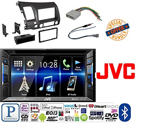 "JVC KW-V130BT Double DIN BluetoothA In-Dash DVD/CD/AM/FM Car Stereo w/ 6.2"" Clear Resistive Touchscreen W/ Honda Civic 2006 - 2011 Car Radio Stereo CD Player Dash Install Mounting Trim Bezel Panel Kit"