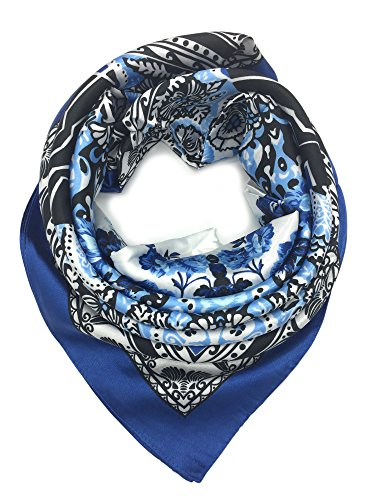 YOUR SMILE Silk Like Scarf Women's Fashion Pattern Large Square Satin Headscarf Head Dress (206)