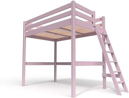 ABC MEUBLES - Cama Alta Sylvia con Escalera - SYLVIAECH - Púrpura Pastel, 120x200: Amazon.es: Hogar