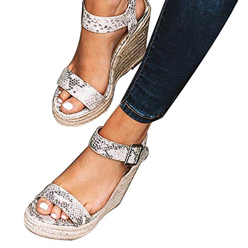 (XMWEALTHY Women's Wedge Sandals Casual Sandals Shoes Summer Ankle Buckle Open Toe Wedges Heels US Size 6.5 Snake)