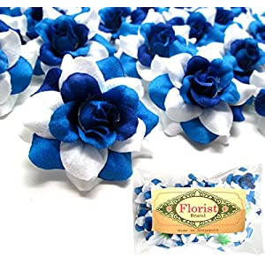 "(24) Silk Two-tone Blue Roses Flower Head - 1.75"" - Artificial Flowers Heads Fabric Floral Supplies Wholesale Lot for Wedding Flowers Accessories Make Bridal Hair Clips Headbands Dress 43"