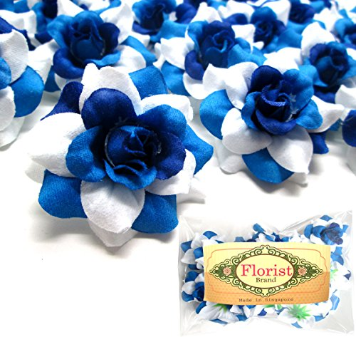 (24) Silk Two-tone Blue Roses Flower Head - 1.75 - Artificial Flowers Heads Fabric Floral Supplies Wholesale Lot for Wedding Flowers Accessories Make Bridal Hair Clips Headbands Dress