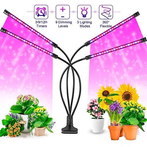 Grow Light, LED Growing Lamps for Indoor, BTVALUE 36W 72 LED Lamp Bulbs, Growing Lamp for Plants Growth with 3/9/12H Timer 10 Dimmable Level 3 Switch Red/Blue Modes Full Spectrum,Adjustable Gooseneck