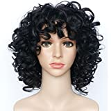 Synthetic Wigs for Black Women Black Curly Wig Short African American Afro Hair Wigs Natural Hairline Heat Resistant Fiber Fluffy Wavy Fashion Looking Replacement for Women Lady