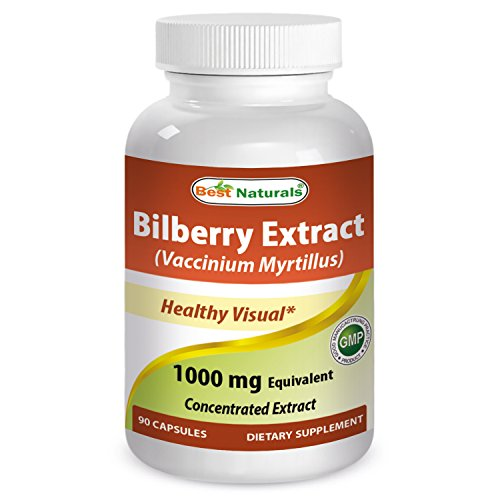 Best Naturals Bilberry Extract 1000mg for Healthy Vision, 90 Count