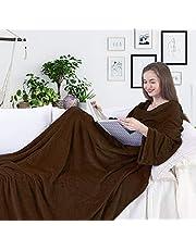 DecoKing TV-deken, 170 x 200 cm, microvezel-knuffeldeken met mouwen en zakken van microvezel, fleecedeken, zacht, pluizig, knuffelig