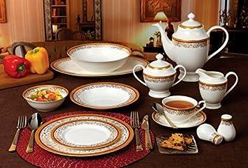 Lorren Home Trends La Luna Collection Bone China 57-Piece Red and 24K Gold Design & Amazon.com | Lorren Home Trends La Luna Collection Bone China 57 ...