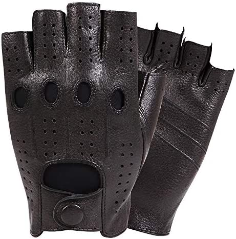 手袋 日常 実用 男性のための指なし革手袋、ハーフフィンガー、ドライビングサイクリンググローブオートバイ乗馬用グローブ、1ペア (Color : Black, Size : M)