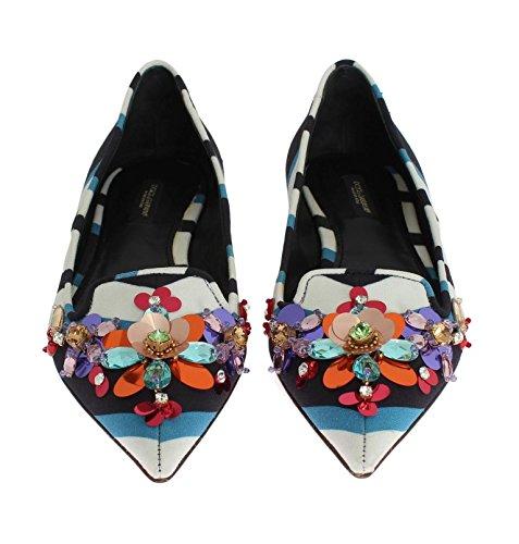 Dolce & Gabbana Dame Sko - Lejligheder - Ballerina - Dagdriver - Krystal Pailletter Sko - Hvid / Blå Gr.39 gSkrDQZ7