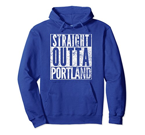 Unisex STRAIGHT OUTTA PORTLAND HOODIE FUNNY VINTAGE DISTRESSED GIFT XL Royal Blue