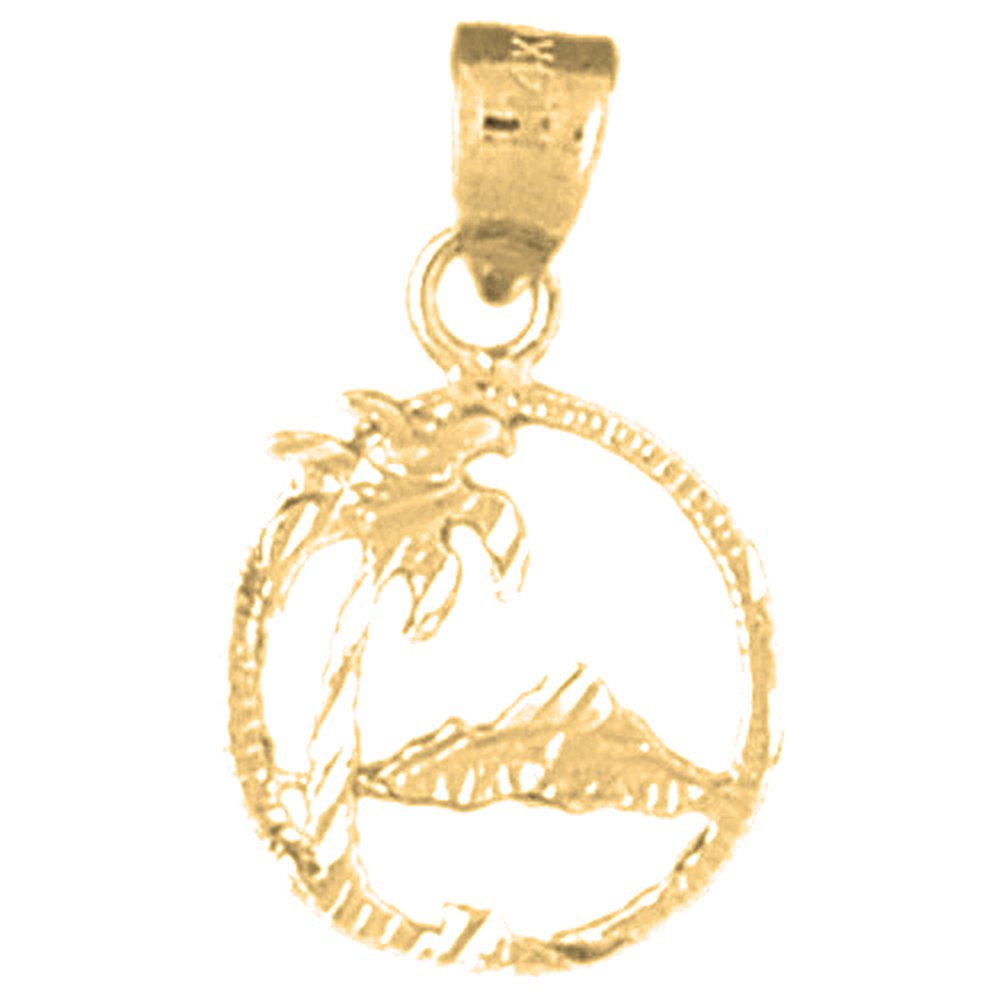 14K Yellow Gold-plated 925 Silver Palm Tree Pendant with 18 Necklace Jewels Obsession Palm Tree Necklace