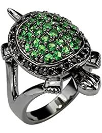 Black Ruthenium-Plated Round Black Cubic Zirconia and Green Glass Turtle Ring