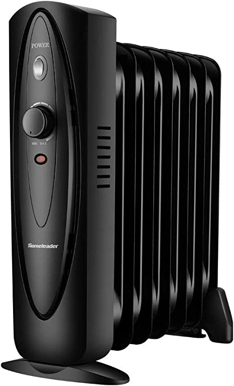 Homeleader Mini Oil Filled Heater , Adjustable Temperature Compact and Slim Portable Space Heater  700W, Black