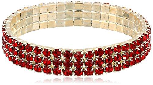 1928 Jewelry Silver-Tone Red 3-Row Rhinestone Stretch Bracelet ()