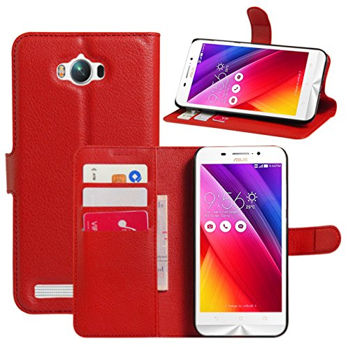Wallet Flip Leather Case Cover For Asus Zenfone Max ZC550KL (Red) - 5